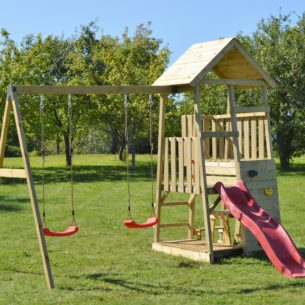Wooden Tower Swing Set