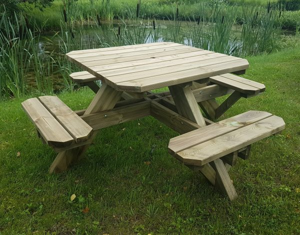 Square Wooden Picnic Table