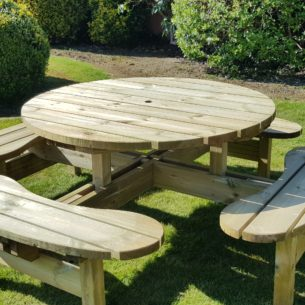 Wooden Round Picnic Table