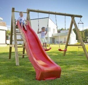 Wooden Swing Set Slide Climbing Ladder