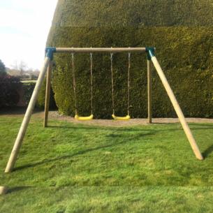 Wooden Double Swing Set