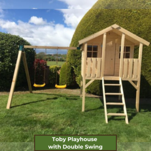 Toby Kids Playhouse with Slide and Double Swing