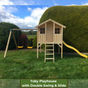 Toby Kids Playhouse with Slide and Double Swing and Slide Front