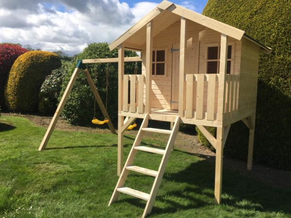 Toby Kids Playhouse with Slide and Double Swing Right