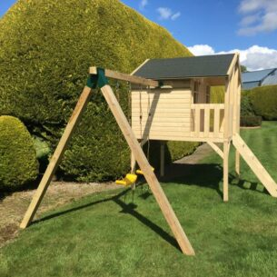 Toby Kids Playhouse with Slide and Double Swing and Slide Left