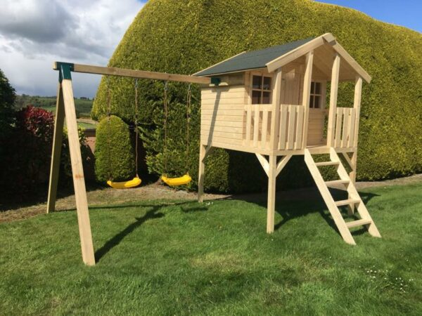 Toby Kids Playhouse with Slide and Double Swing Left