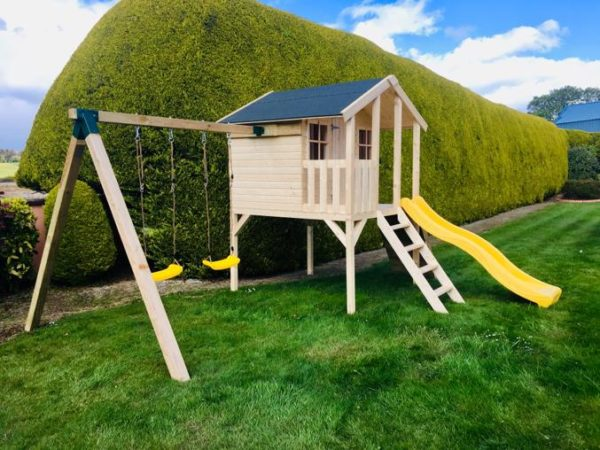 Toby Kids Playhouse with Slide and Double Swing and Slide Left 2