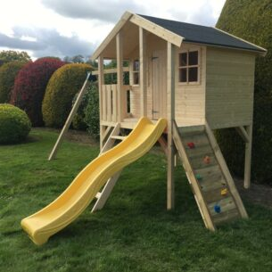 Toby Kids Playhouse with Double Swing, Slide and Climbing Wall Right