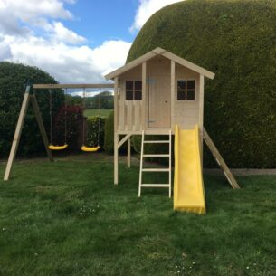 Toby Kids Playhouse with Double Swing, Slide and Climbing Wall Front
