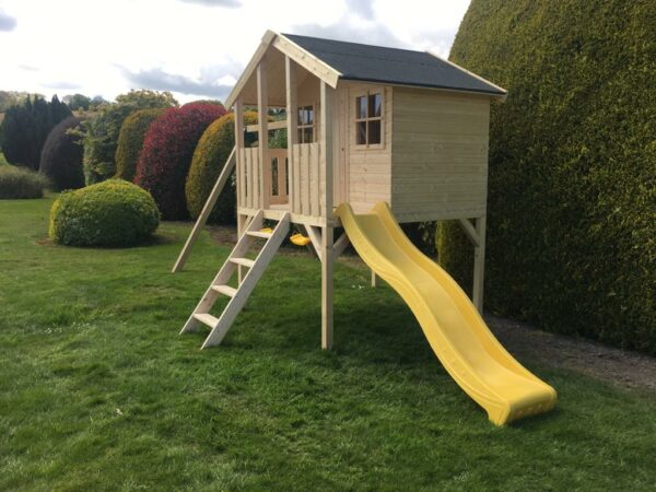 Toby Kids Playhouse with Slide and Double Swing and Slide Right