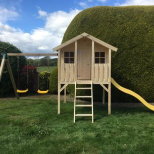Toby Kids Playhouse with Slide and Double Swing and Slide