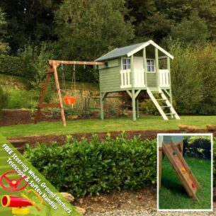 Toby Playhouse with Double Swing and Climbing Wall