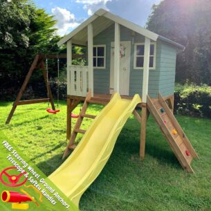 Toby Playhouse with Double Swing, Climbing Wall and Slide